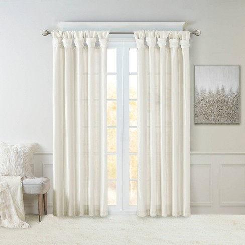 95 X50 Lillian Twisted Tab Lined Light, Lined White Curtains