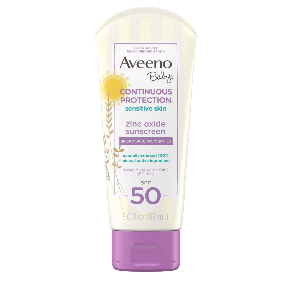 Image of Aveeno Baby Continuous Protection Sensitive - Zinc Oxide With Broad Spectrum Skin Lotion Sunscreen - SPF 50 - 3 fl oz