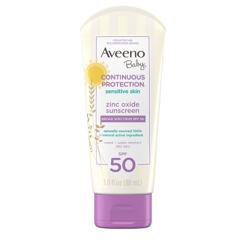 Aveeno Baby Continuous Protection Sensitive - Zinc Oxide With Broad Spectrum Skin Lotion Sunscreen - SPF 50 - 3 fl oz - image 1 of 11