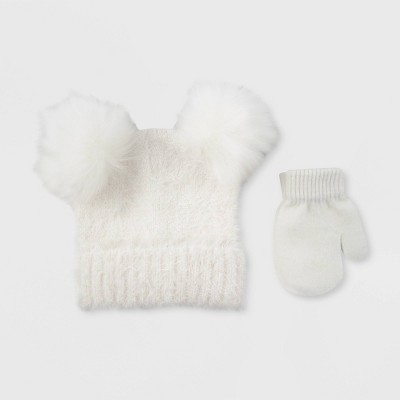 Baby Girls' Hat And Glove Set - Cat & Jack™ Opaque White 12-24M