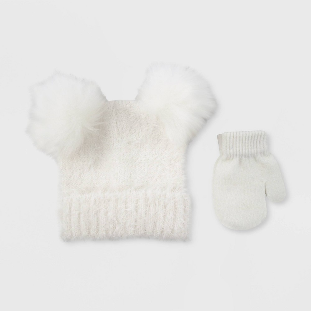 Image of Baby Girls' Hat And Glove Set - Cat & Jack Opaque White 12-24M, Toddler Girl's