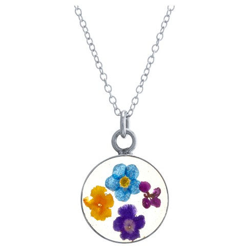 "Women's Sterling Silver Pressed Flowers Small Round Pendant (18"") - image 1 of 1"