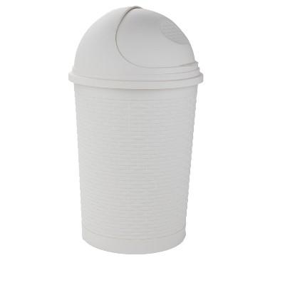 Mind Reader Rattan Garbage Bin 35 Liter/9.25 Gallon, Ivory