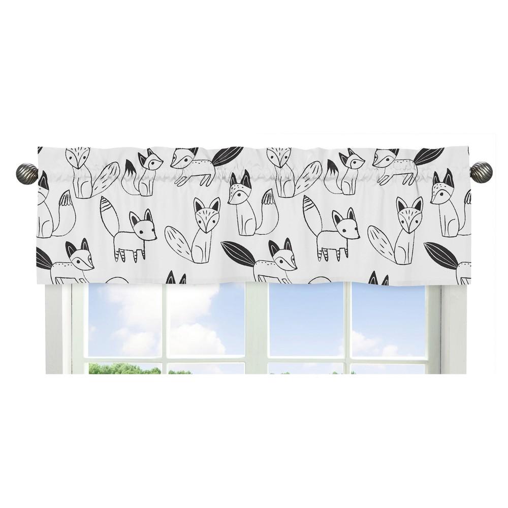 Sweet Jojo Designs Window Valance - Fox - Black/White