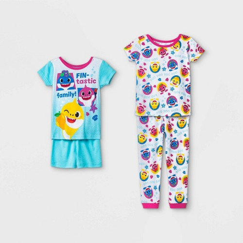 Toddler Girls 4pc Baby Shark 100 Cotton Snug Fit Pajama Set