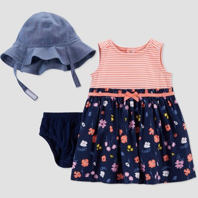 Baby Girls' 2pc Floral Dress with Hat - Just One You® made by carter's Navy