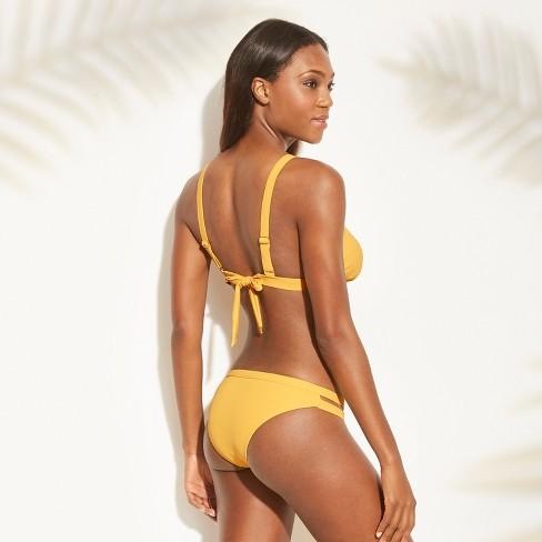 64517b0c4731f Women s Ribbed Triangle Bikini Top - Xhilaration™ Marigold D DD Cup   Target