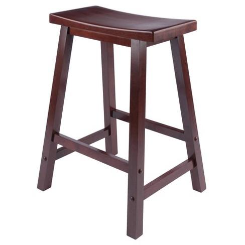 Saddle Seat 24 Counter Stool Hardwood Walnut Winsome