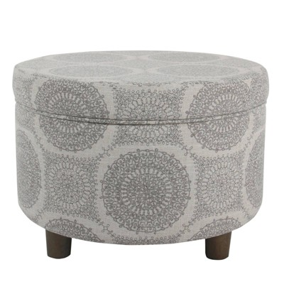 Wooden Ottoman with Medallion Patterned Fabric Upholstery and Hidden Storage Gray - Benzara