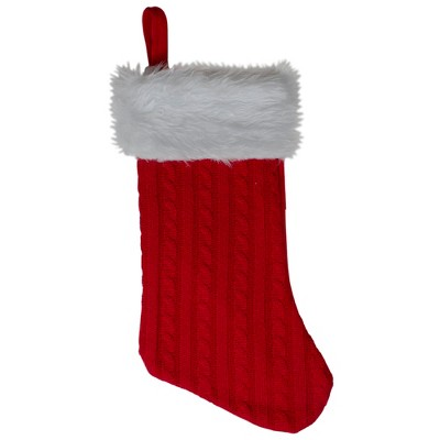 "Northlight 19"" Red and White Cable Knit and Faux Fur Cuff Christmas Stocking"