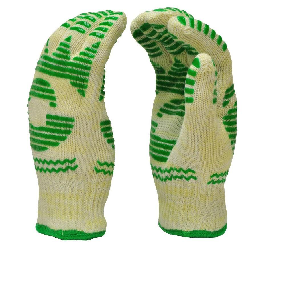 Dupont Nomex & Kevlar Heat Resistant Gloves, Oven Gloves, Bbq Gloves, Large, 1 Pair - G & F 1684L, Green