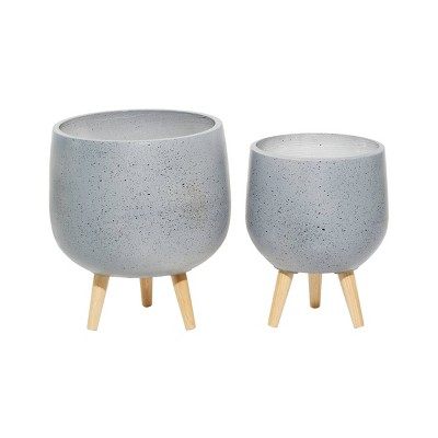 Set of 2 Contemporary Wood Oval Bowl Planters Gray - Olivia & May