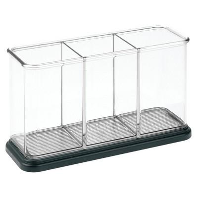 mDesign Plastic Makeup Organizer Storage Caddy Bin, 3 Sections