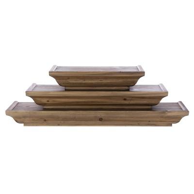 3pc Muskoka Fitz Wooden Shelf Set Brown - Kiera Grace