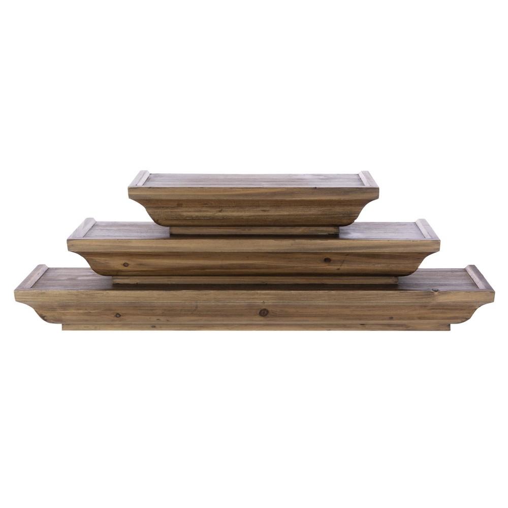 Image of 3pc Muskoka Fitz Wooden Shelf Set Brown - Kiera Grace, Brown Beige