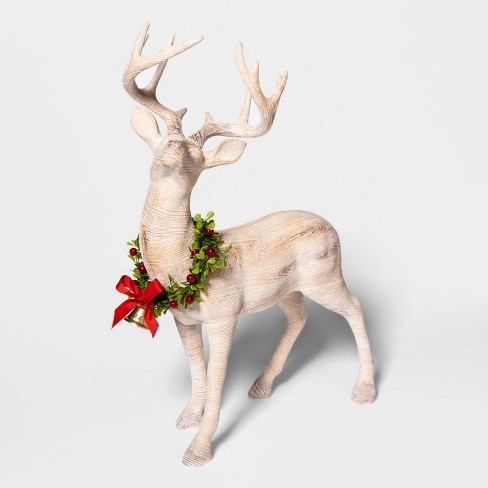 "19.4"" x 7.1"" Wooden Standing Deer Figurine with Wreath Natural - Threshold™ - image 1 of 3"