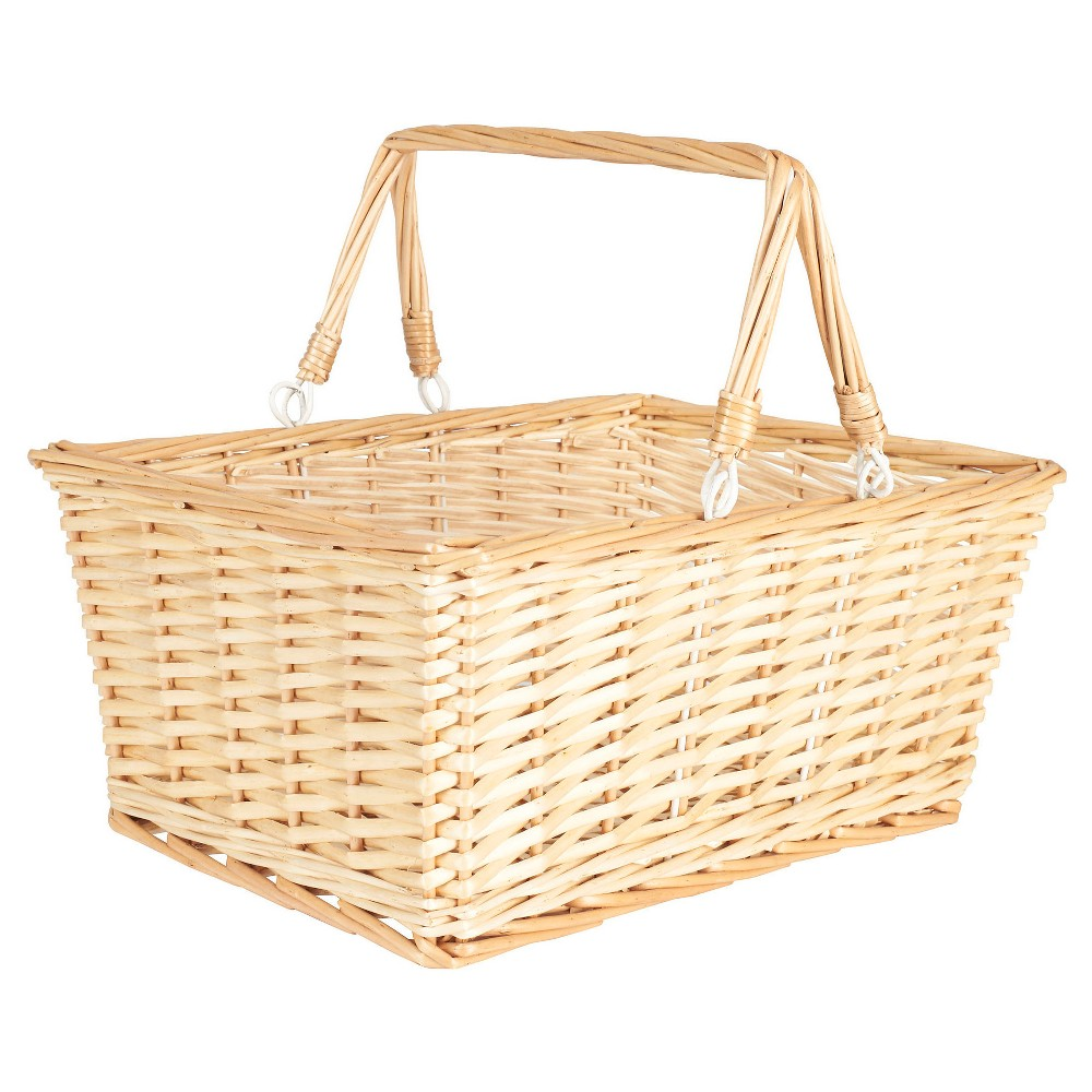 Household Essentials - Open Top Market Basket with Handles - Natural, Neutral