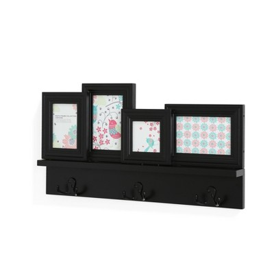 22  x 12  4-Photo Frame Wall Shelf with Hooks Black - Danya B.