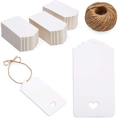 Bright Creations 300 Pack White Gift Tags with String, Heart Shaped Cutouts (2 x 4 Inches)