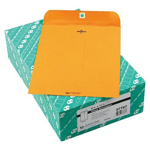 quality park 8 3 4 x 11 1 2 32 lb clasp envelope brown 100 per box