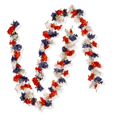 6 Ft. Patriotic Hydrangea Garland (2pk) - National Tree Company