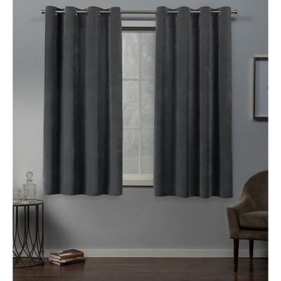 "Set of 2 63""x54"" Velvet Heavyweight Grommet Top Window Curtain Panel Light Gray - Exclusive Home"