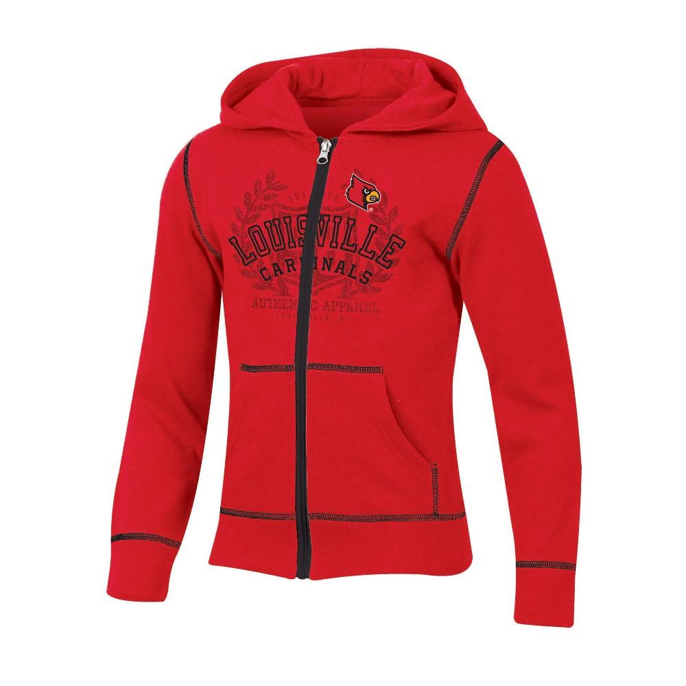 Louisville Cardinals Girls' Long Sleeve Full Zip Hoodie - S, Multicolored