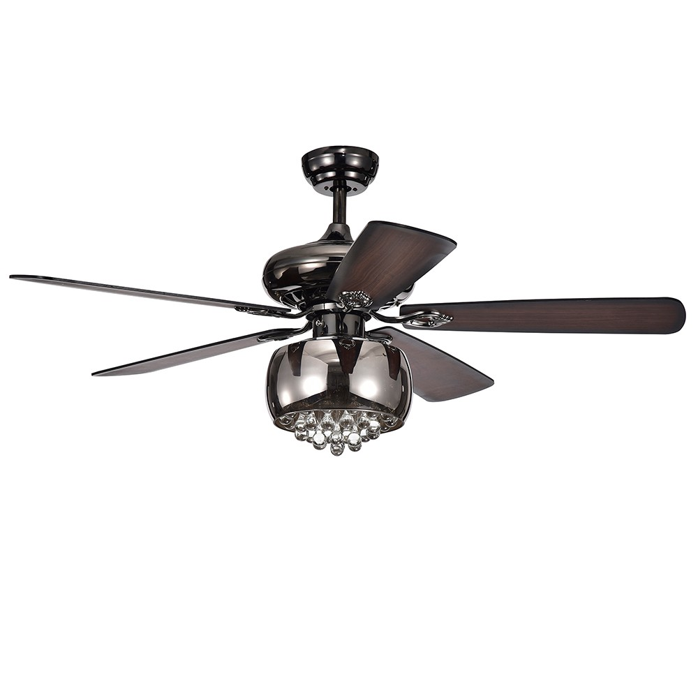 Nettle 3 Light Shaded Glass And Crystal 5 Blade Pear Black 52 Lighted Ceiling Fan - Warehouse of Tiffany