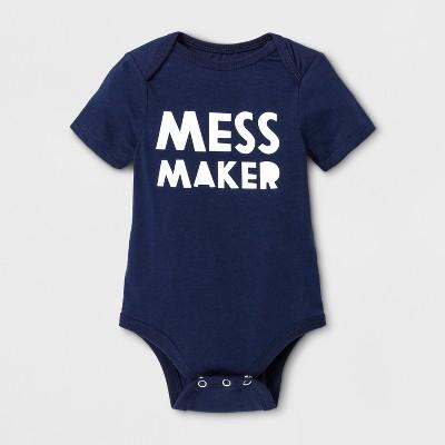 Baby Short Sleeve Mess Maker Graphic Jumpsuit - Cat & Jack™ Blue 6-9 M