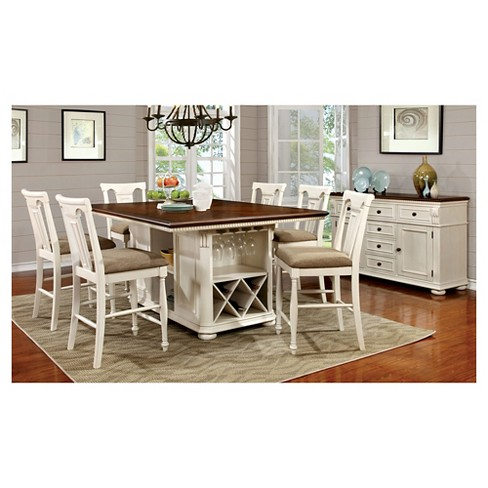 Sun Pine 7pc Country Storage Counter Height Table Set Cherry And White