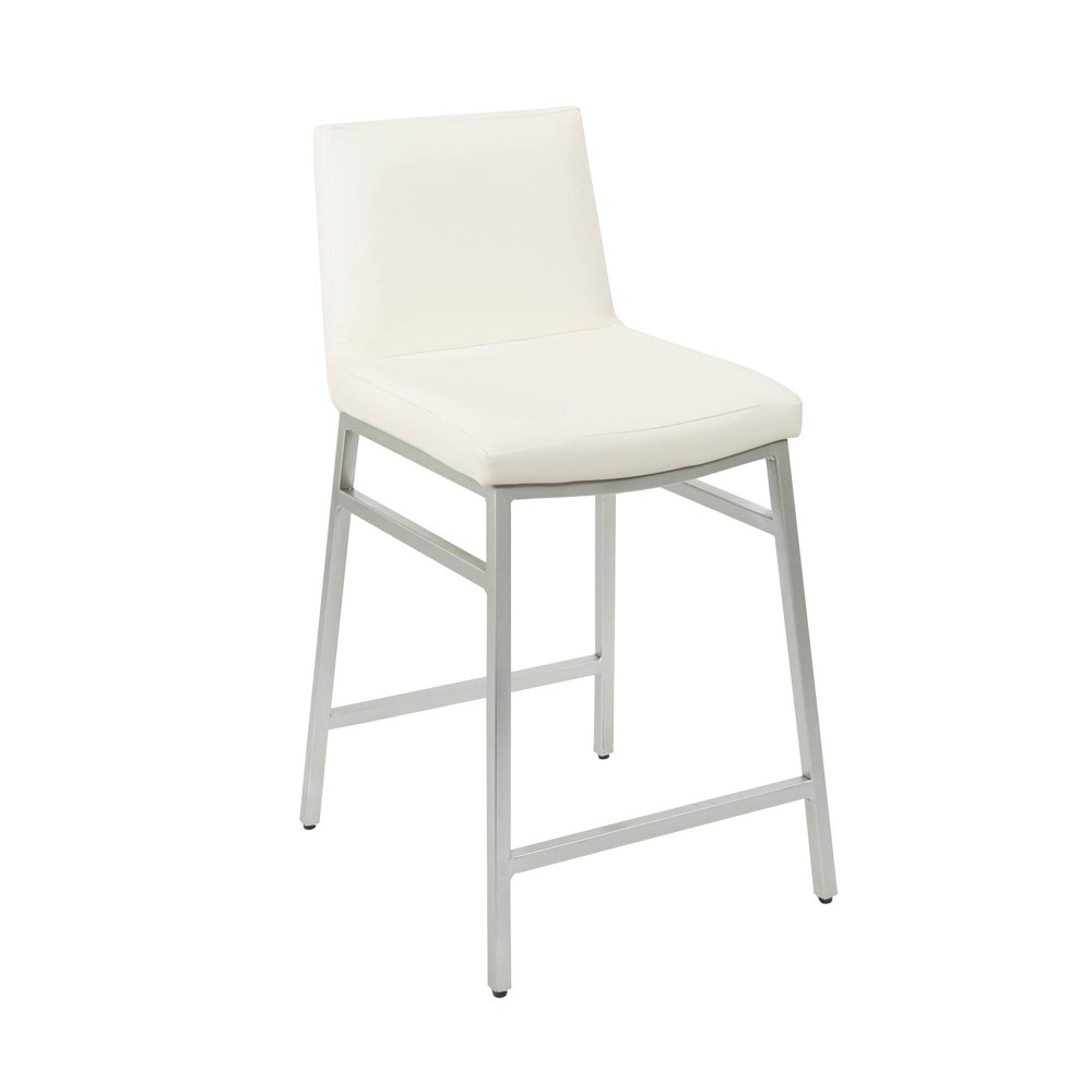 "Image of ""24"""" Norton Upholstered Square Back Metal Barstool White - Silverwood"""