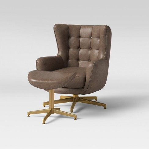 Ordrup Tufted Swivel Chair Ottoman Faux Leather Brown Project 62