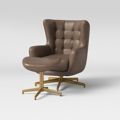 Ordrup Tufted Swivel Chair U0026 Ottoman Faux Leather Brown   Project 62™