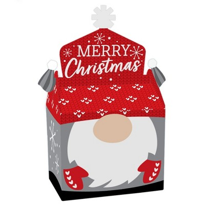 Big Dot of Happiness Christmas Gnomes - Treat Box Party Favors - Holiday Party Goodie Gable Boxes - Set of 12