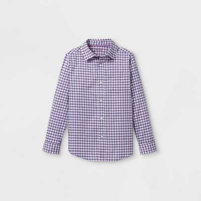 Boys' Woven Long Sleeve Button-Down Shirt - Cat & Jack™ Purple