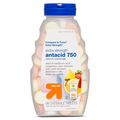 Extra Strength Antacid Chewable Tablets - Tropical Fruit Flavor - 96ct - up & up™