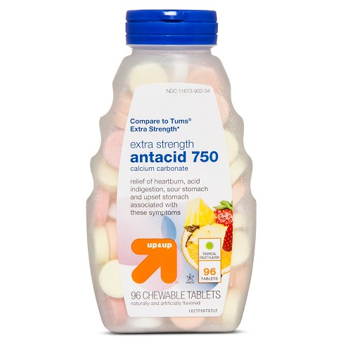 Extra Strength Antacid Chewable Tablets - Tropical Fruit Flavor - 96ct - Up&Up™ (Compare to Tums Extra Strength) - image 1 of 1