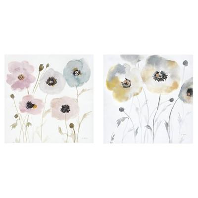 Pastel Garden Hand Embellished Canvas 2pc Set