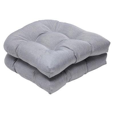 2pc Outdoor Wicker Seat Cushion Set - Gray - Sunbrella