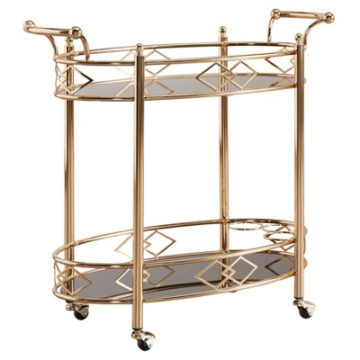 Annie Vintage Metal and Glass Bar Cart Rose Gold - Inspire Q
