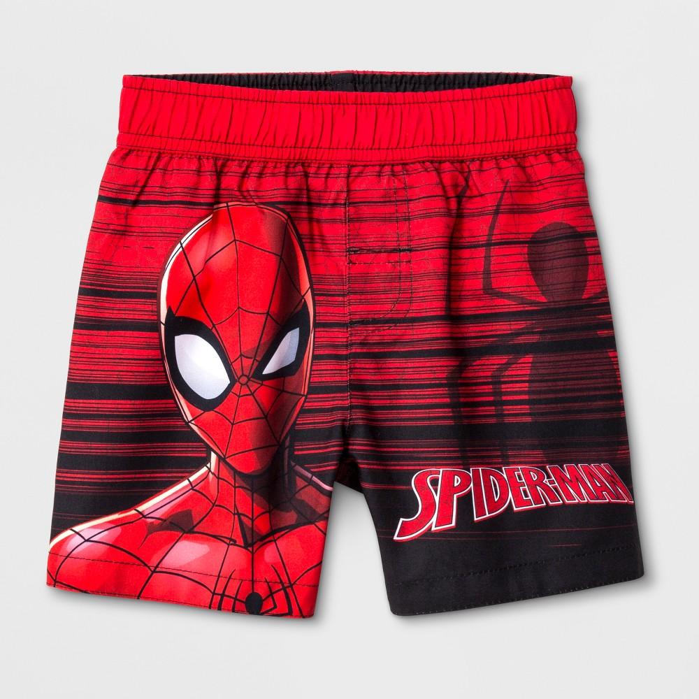 Toddler Boys' Marvel Spider-Man Swim Trunks - Red 4T
