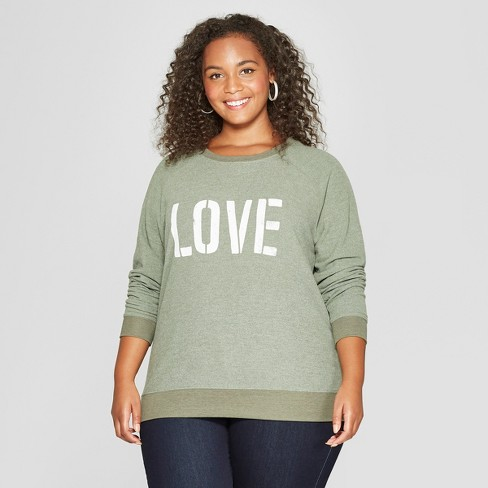 43ee56c65f Women s Plus Size LOVE Graphic Pullover Sweatshirt - Grayson Threads  (Juniors ) Olive Green