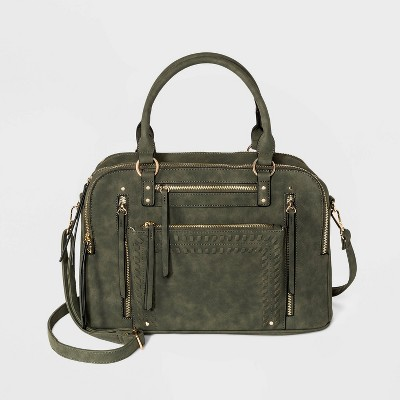 VR NYC Zip Closure Wipstitch Pocket Satchel Handbag - Olive Green