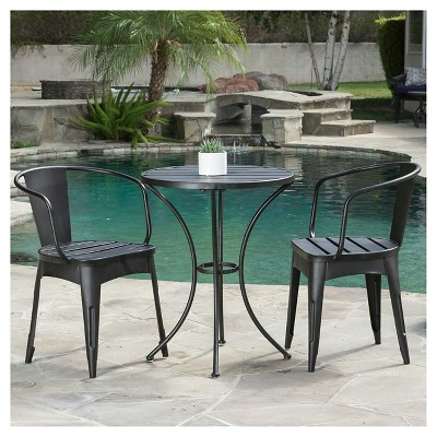 Colmar 3pc Cast Iron Patio Bistro Set - Black with Silver - Christopher Knight Home
