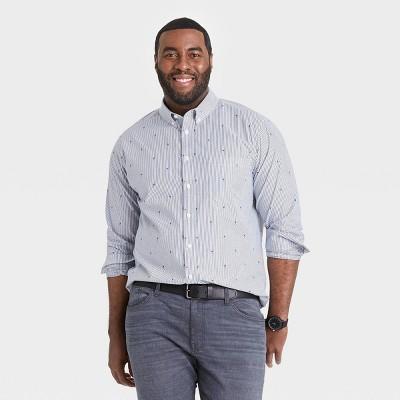 Men's Big & Tall Regular Fit Stretch Poplin Long Sleeve Button-Down Shirt - Goodfellow & Co™