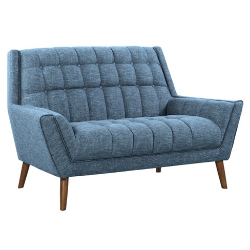 Cobra Mid Century Modern Loveseat In Blue Linen And Walnut Legs Armen Living