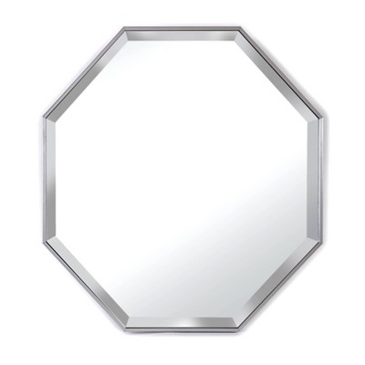 "28"" x 28"" Cambridge Octagon Beveled Glass Framed Wall Mirror Silver - Alpine Art & Mirror"