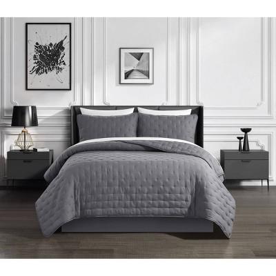 King 7pc Kamdan Bed In Bag Quilt Set Gray - Chic Home Design