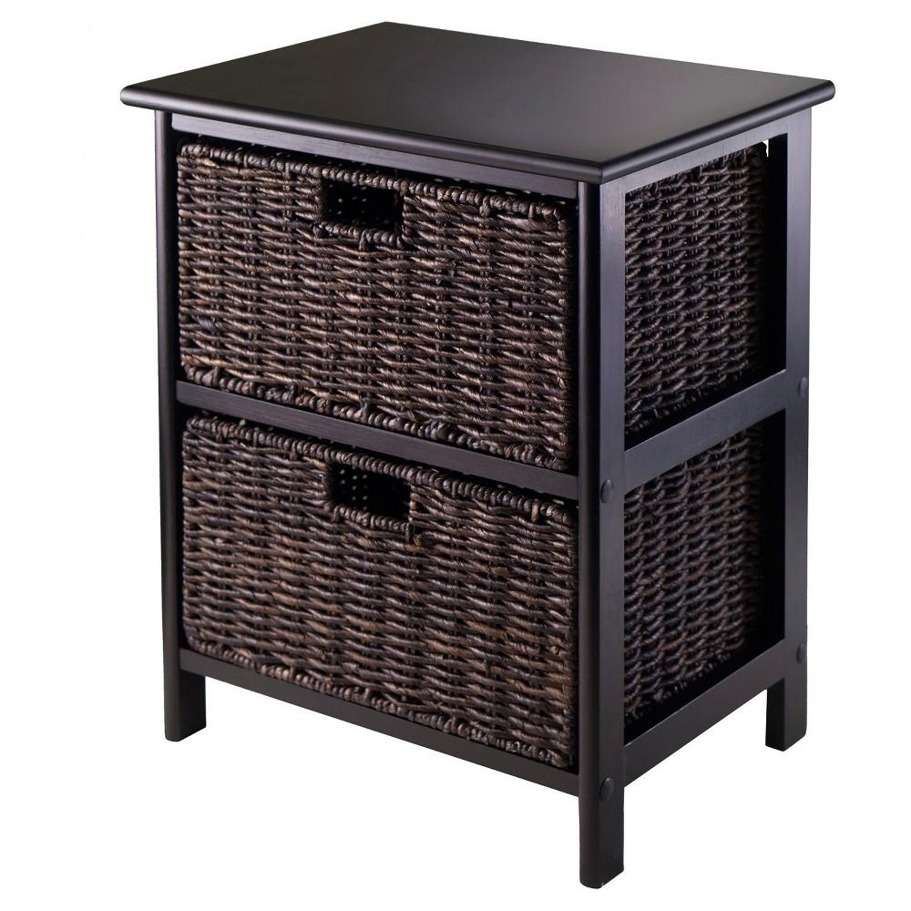 Omaha Storage Rack with Baskets - Black, Chocolate - Winsome