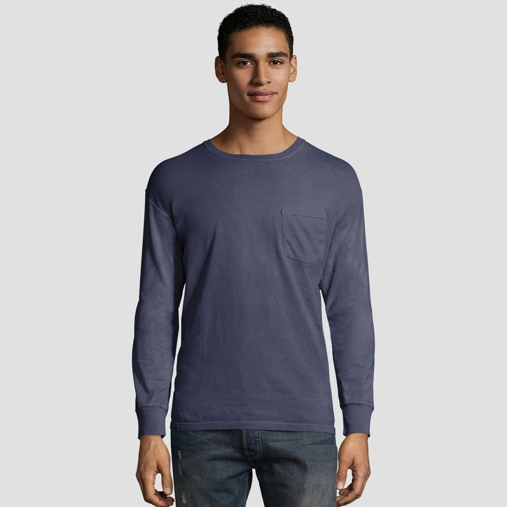 Hanes Men's Long Sleeve 1901 Garment Dyed Pocket T-Shirt - Slate (Grey) 2XL